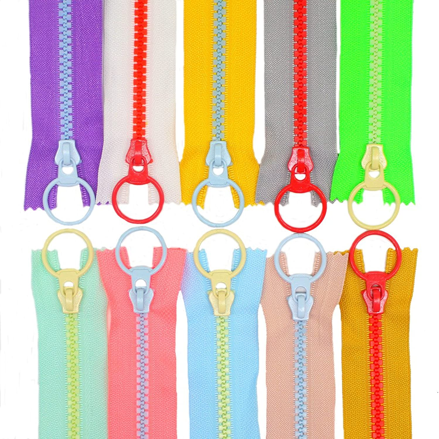 YaHoGa 10PCS 8 Inch (20CM) #5 Plastic Zippers with Lifting Ring Pull Close End Vislon Zippers for DIY Sewing Craft Bags Garment 8