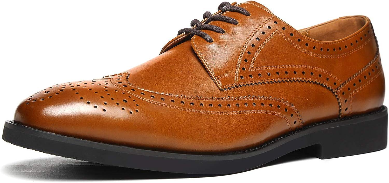 GM GOLAIMAN Men's Classic Dress Shoes Wingtip Lace Up Oxfords