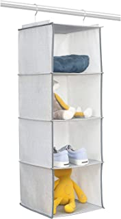 BrilliantJo Rangement Suspendu avec 4 étagères de Rangement de penderie, unité de Rangement pour Les Chaussures de Sac à v...