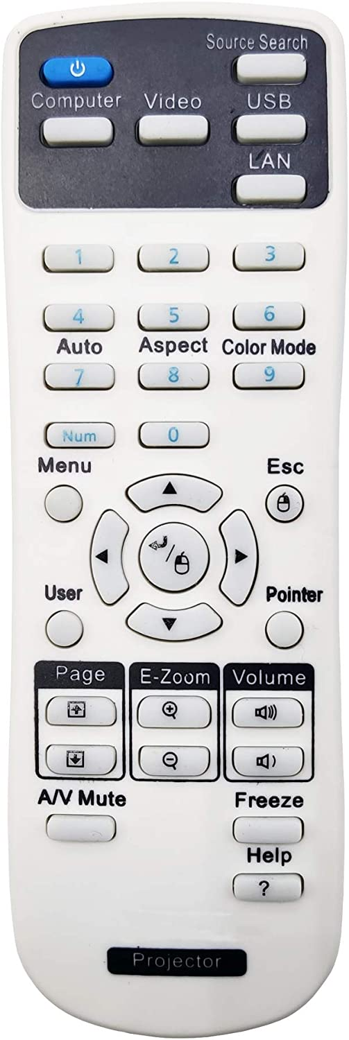 INTECHING 1566090 Projector Remote Control for Epson EB-1980WU, EB-1985WU, PowerLite 1751/ 1761W/ 1771W/ 1776W/ 1930/1935/ 1940W/ 1945W/ 1950/1955/ 1960/1965/ 1975W/ 1980WU/ 1985WU, Pro Cinema 1985