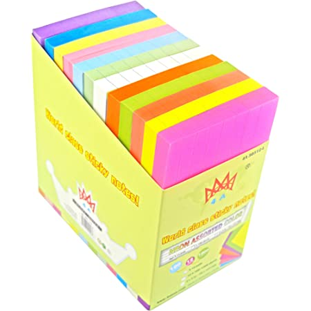 4A Sticky Notes,3 x 5 Inches,Neon Assorted,Lined,12 Colors,Self-Stick Notes,100 Sheets/Pad,12 Pads/Pack,4A 30512-L