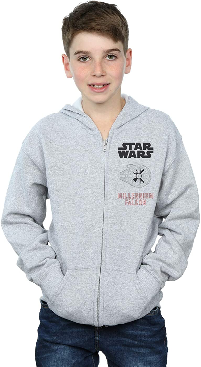 Star Wars Boys Force Awakens Millennium Falcon Zip Up Hoodie 12-13 years Sport Grey
