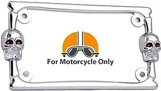 TCS 3D Skull Bones Chrome Metal Motorcycle Bike License Plate Frame