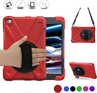 BRAECN iPad Mini 4 Case for Mini iPad 5 Case with 360 Degree Swivel Stand/Hand Strap/Shoulder Strap Case[Heavy Duty] Three Layer Ultra Hybrid Shockproof Full-Body Protective Case iPad Mini 5 Case/Red
