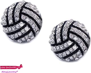 Kenz Laurenz Volleyball Earrings Studs - Crystal Rhinestone Post Silver Bling