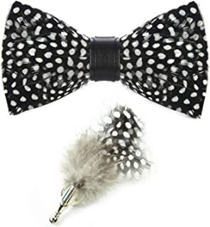 Mens Handmade Feather Pre-tied Bow tie and Brooch Sets