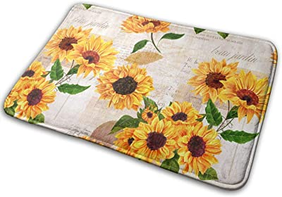 Vintage Grunge Yellow Sunflower Floral Large Doormats, Non Slip Durable Washable Home Decorative Door Mats Rugs for Entrance Bedroom Bathroom Kitchen, 23 X 16 Inches