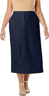 Women's Plus Size Tummy Control Bi-Stretch Midi Skirt