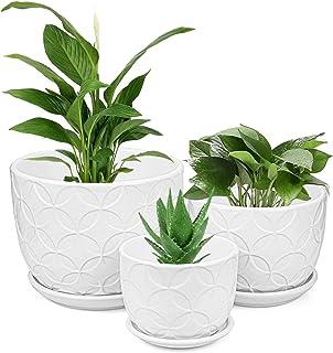 Plant Pots, Brajttt Flower Pots Planters Set of 3 ,Modern Decorative SucculentPot Gardening Pot with Drainage Hole for In...
