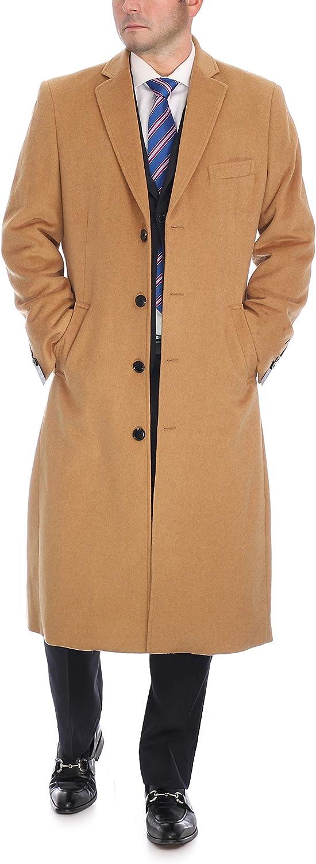 Men's Wool Cashmere Single Breasted New life Coa Philadelphia Mall Length Full Overcoat Top