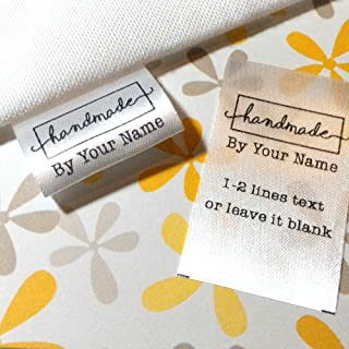 100 pcs Handmade design Custom text logo personalized Sewing hanging satin ribbon clothing labels folding name tag washable wash care handmade label