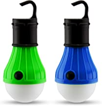 2 PC Camping Lights | Portable LED Light Bulb Fixtures for Camping & Backpacking | Battery Powered Outdoor Hanging Lights ...