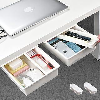 Under Desk Drawer[2Pack, M+M], GGIANTGO Desk Drawer, Set for Office/Bedroom/School/Kitchen, Self-Adhesive Under Desk Stora...