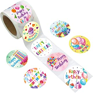 Fancy Land Watercolor Happy Birthday Stickers Perforated 200Pcs Per Roll for Kids Party Decoration