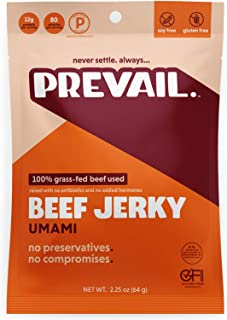 Umami Beef Jerky| Teriyaki-Style | 3 Pack | Certified Gluten-Free, Keto-Certified, Paleo-Certified, 100% Grass-Fed & Grass-Finished, Low-Carb, Soy-Free, Allergy-Friendly | 12g Protein | Prevail Jerky