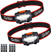 Gritin LED Head Torch, [2 Pack] COB Headlamp Super Bright Headlight, Adjustable & Comfortable to Wear with 3 Modes, IPX4 Waterproof, Lightweight for Running, Camping, 6*AAA Batteries Included