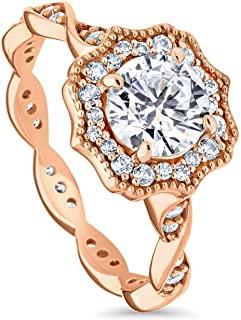 Rose Gold Plated Sterling Silver Round Cubic Zirconia CZ Art Deco Halo Milgrain Promise Engagement Ring 1.41 CTW