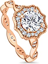 BERRICLE Rose Gold Plated Sterling Silver Round Cubic Zirconia CZ Art Deco Halo Milgrain Promise Engagement Ring 1.41 CTW