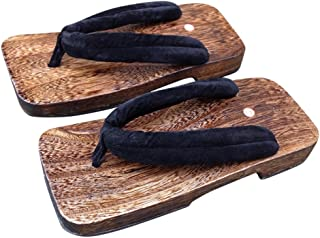 CRB Fashion Mens Japanese Traditional Kimono Wooden Clogs Slippers Sandals