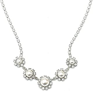 Swarovski Crystal Pearl & Diamante Accent Necklace / Pearl Flower Necklace in Clear & Silver Finish