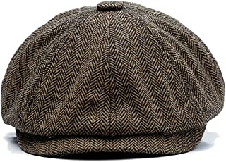 Charmylo Newsboy Cap Baker Boy Hat Gorras Planas - 8 Paneles Peaky Herringbone Tweed Gatsby Hat Ivy Irish Cap para Hombres...