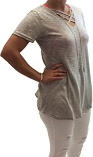 Yak and Yeti Womens V Neck with Cross Strap Front Top-Light Grey-Mediu