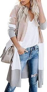 Aelean Womens Open Front Long Sweater Cardigans Boho Full Sleeve Color Block Knit Lightweight Duster Coats