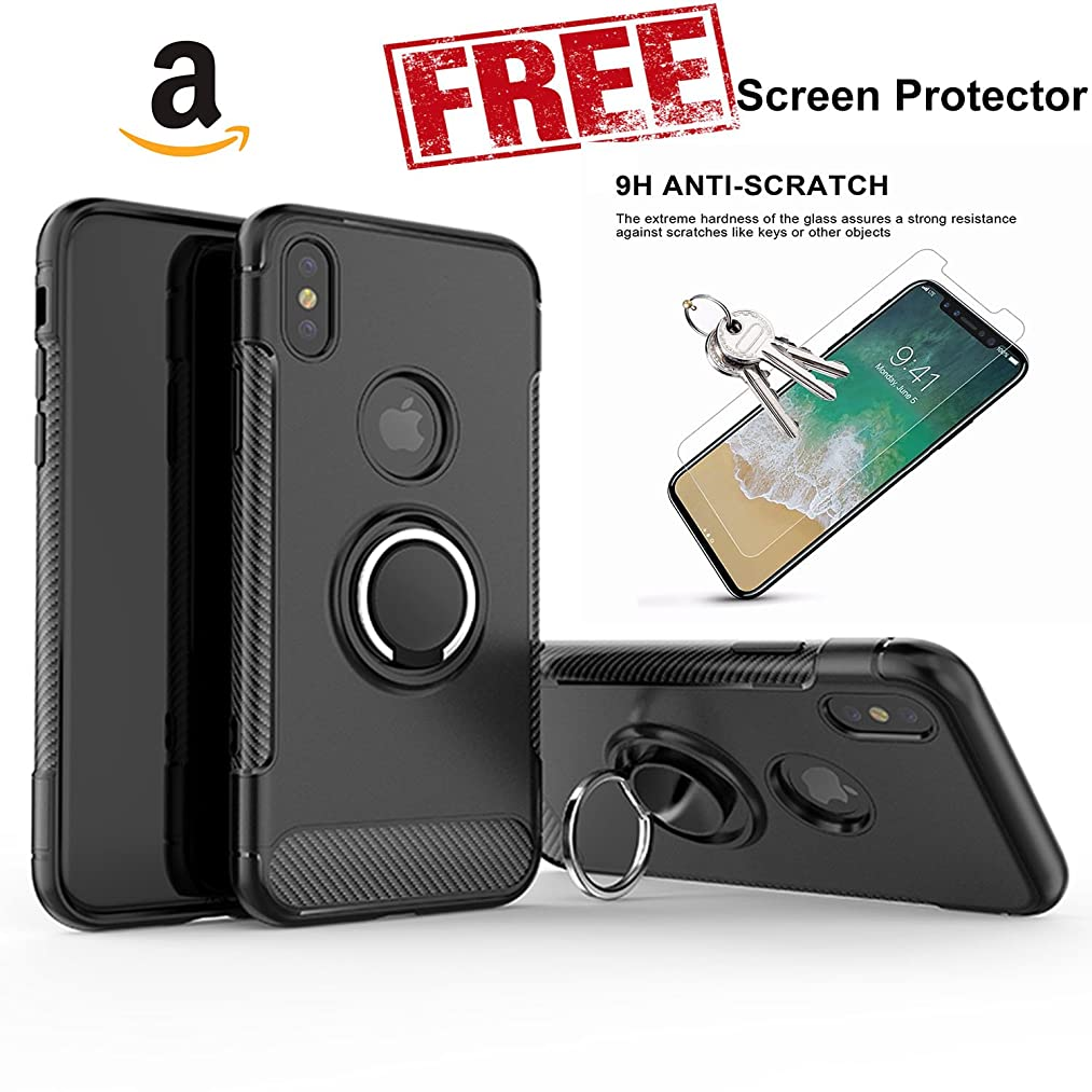 iPhone X Case Rotating Finger Ring With Magnet FREE Screen protector (Black)