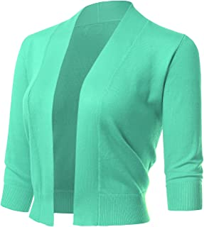 ARC Studio Women's Classic 3/4 Sleeve Open Front Cropped Cardigans (S-XL)