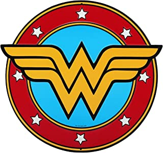 Open Road Brands DC Comics Wonder Women Classic Logo Embossed Metal Wall Art Sign - an Officially Licensed Product Great Addition to Add What You Love to Your Home/Garage Decor