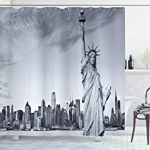 Ambesonne New York City Shower Curtain, Liberty New York City Famous American Monument Landscape Illustration, Cloth Fabric Bathroom Decor Set with Hooks, 70 Long, Grey