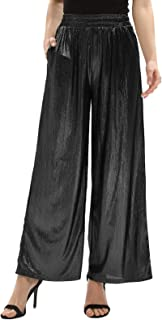Women's Casual Loose Elastic Shiny Pocket Wide Leg Pants Flared Trousers