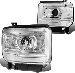 DNA Motoring HL-OH-GMCS14-CH-CL1 Chrome Housing Clear Side Projector Headlight [For 14-17 GMC Sierra ]