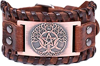 ENXICO Triple Moon Goddess with Tree of Life Amulet Brown Leather Bangle Bracelet ♦ Wicca Pagan Witchcraft Jewelry ♦ Copper Color
