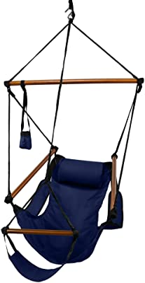Hammaka Hanging Hammock Air Chair, Wooden Dowels, Blue