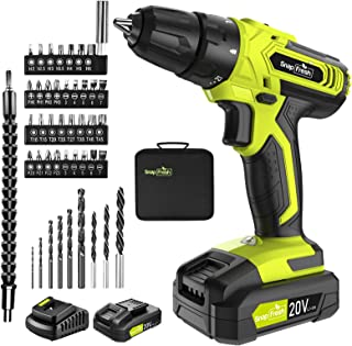 Cordless Drill - 20V Cordless Drill with Battery & Charger, Impact Drill Set for Home, Power Drill Driver with Infinitely ...