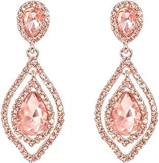 Women Pear Shape Crystal Earrings Dangle Teardrop Rhinestone Chandelier Bridal Earring for Wedding