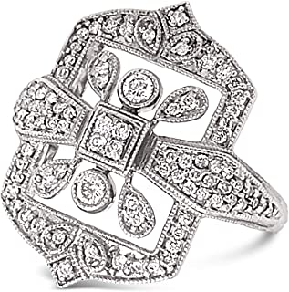 .925 Sterling Silver White Diamond Victorian Designer Ring For Women 1/2 Carats