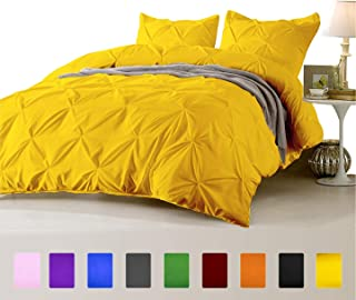 FINE LECHO Soft Luxurious 3-Piece Pinch Pleated Pintuck Decorative Quilt Duvet Cover Set Highest Quality Egyptian Cotton 800 Thread Count Comforter Cover (Full/Queen, Gold