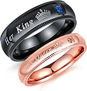 MONIYA His Queen and Her King Stainless Steel Couple Rings Wedding Band for Men Women (Priced Separate)