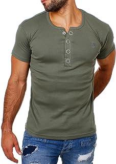 0411a9e9f9 Young&Rich Herren Uni Feinripp T-Shirt mit Knopfleiste & Tiefem Ausschnitt  Deep V-Neck