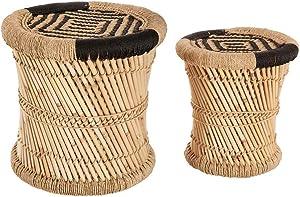 Atmosphera Lot de 2 Tables Basses gigognes en Corde et Bambou - Style Nomade - Coloris Bois et Noir