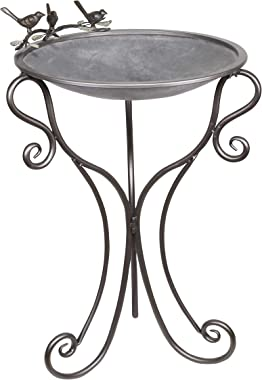 Alpine Corporation ORS684 Metal Alpine Vintage Birdbath, 24 Inch Tall