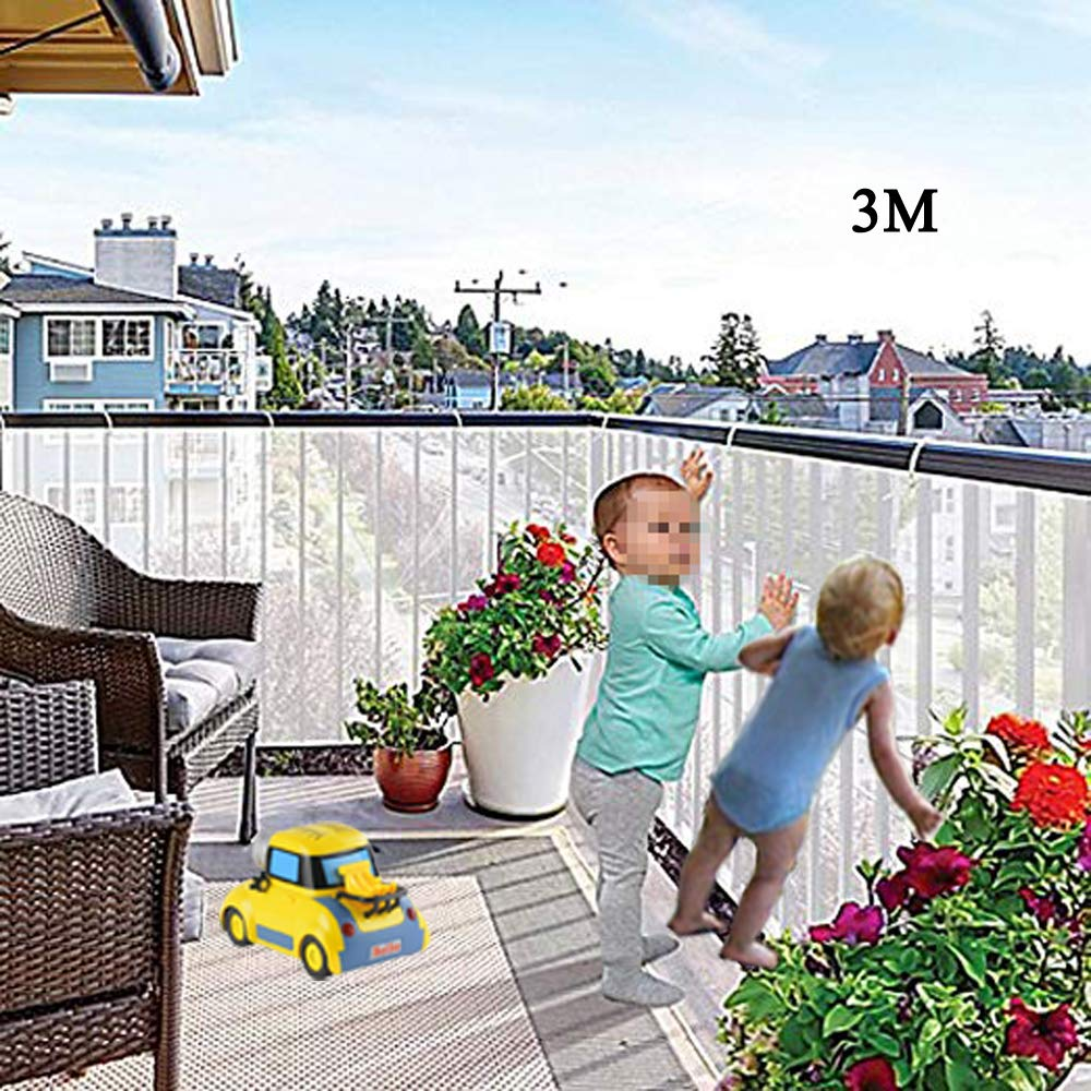 Indoor/Outdoor Baby Safety Stair Railing Net | Baby Proofing Stair Balcony Banister Rail Guard | Child Safety Stair Protection | Safe Rail | 10ft L x 2.6ft H | White