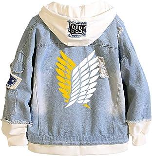 EMLAI Women's Attack on Titan Denim Hoodie Long Sleeve Anime Survey Corps Cosplay Jacket Sweatshirts