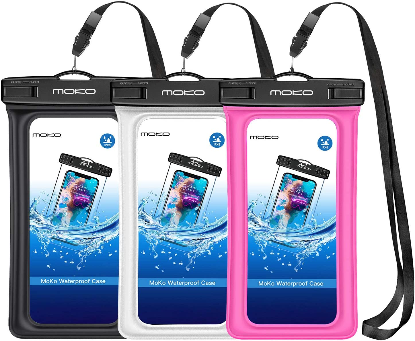 MoKo Floating Waterproof Phone Pouch [3 Pack], Floatable Phone Case Dry Bag with Lanyard Armband Compatible with iPhone 13/13 Pro Max/iPhone 12/12 Pro Max/11 Pro, X/Xr/Xs Max,8, Samsung S21/S10/S9