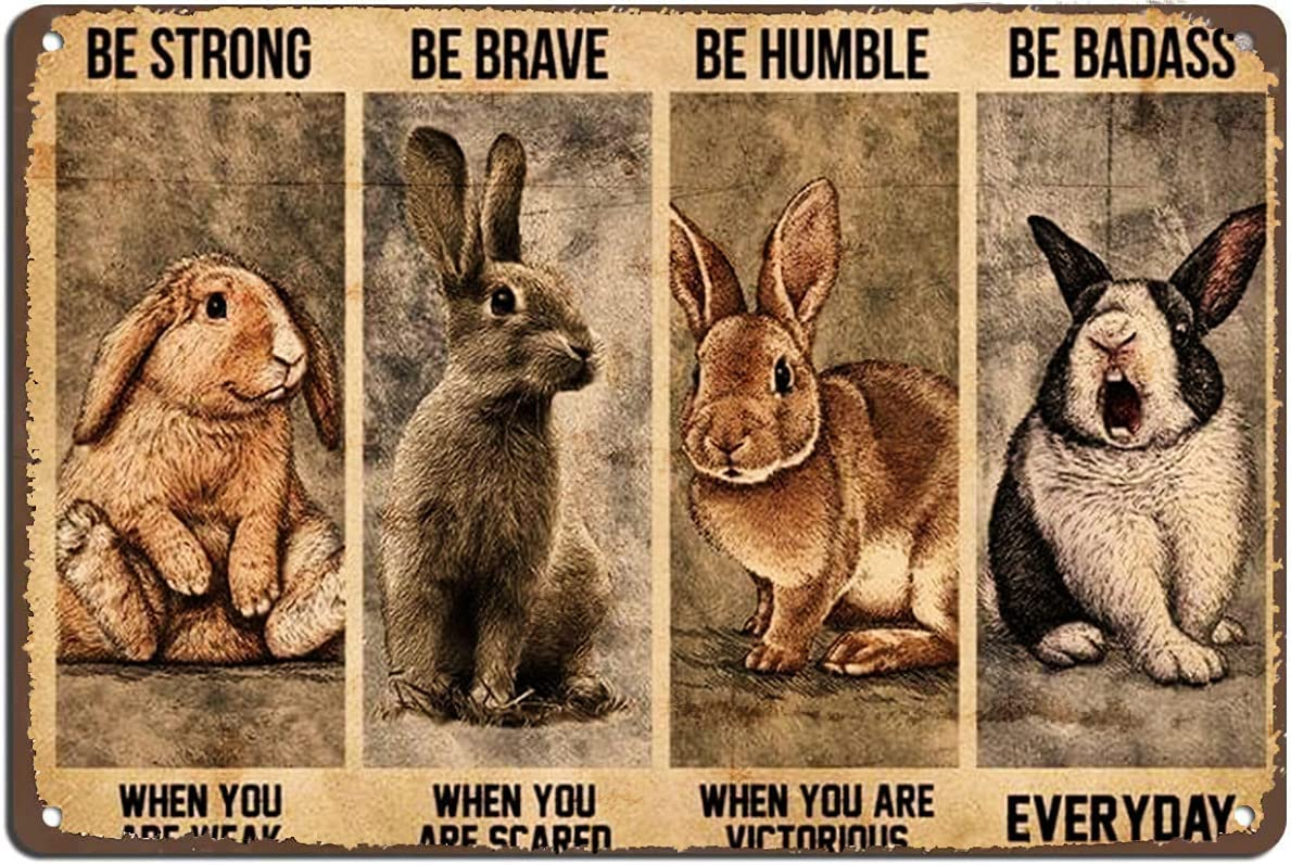 Vintage Wall Decor Bunny Rabbit Poster,Motivational Quote,Vintage Wall Art,Home Decor Retro Tin Signs,Kitchen Decor Vintage Metal Tin Sign ,Wall Decor For Bars,Restaurants,Cafes,Home Beer 12X8 Inch