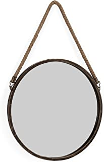 """Danya B. SE021 Decorative Rustic Metal-Framed 15"""" Gold Patina Round Wall Mirror with Hanging Rope"""