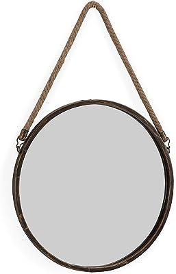 Danya B. 38,1cm Oro Patina Espejo de pared redondo con cuerda para colgar.
