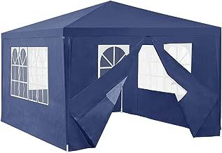 [casa.pro] Carpa Pabellón para Jardín 400 x 300 x 255cm Quiosco Gazebo Cenador de jardín Estructura de Metal Plegable Azul Oscuro